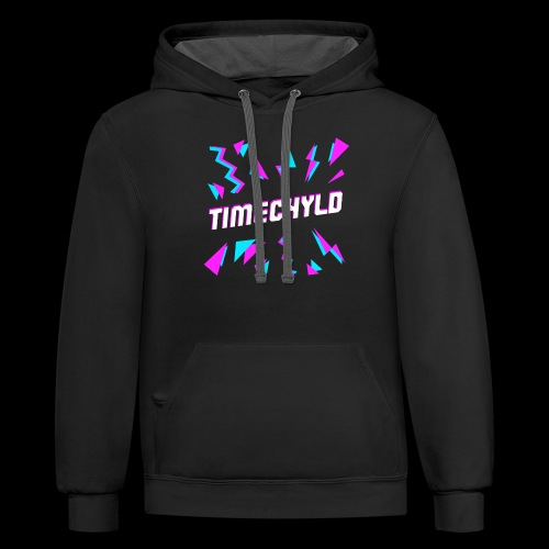 Timechyld Logo with Retro Pattern - Unisex Contrast Hoodie