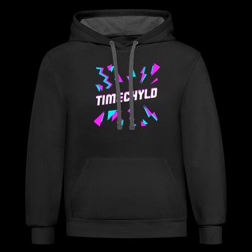 Timechyld Logo with Retro Pattern - Unisex Contrast Hoodie