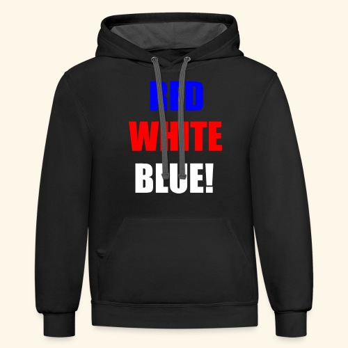 red white blue OCD - Contrast Hoodie
