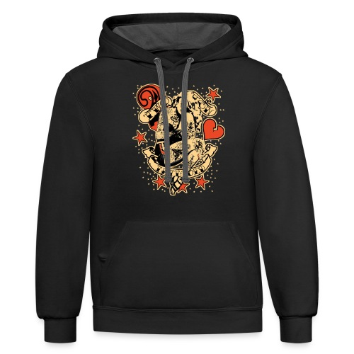 Screwed & tattooed Pin Up Zombie - Contrast Hoodie