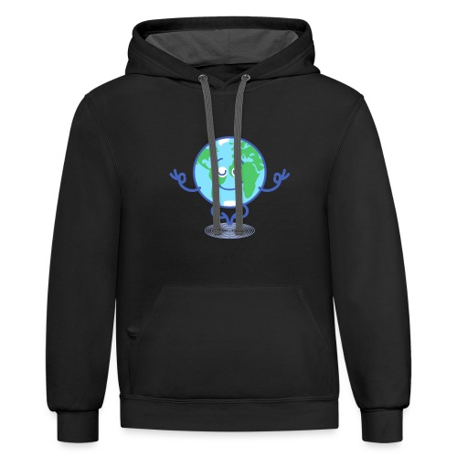 Planet Earth meditating and smiling - Contrast Hoodie