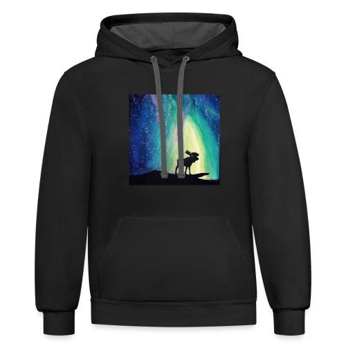 Night Moose - Unisex Contrast Hoodie