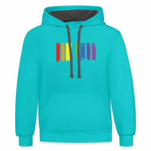 New York design Rainbow - Contrast Hoodie