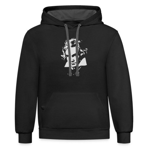 Ludvig Van Beethoven negative for dark shirts - Contrast Hoodie