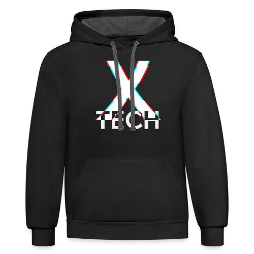 X-Tech Logo - White - Unisex Contrast Hoodie