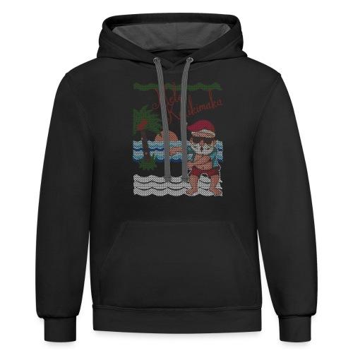 Ugly Christmas Sweater Hawaiian Dancing Santa - Contrast Hoodie