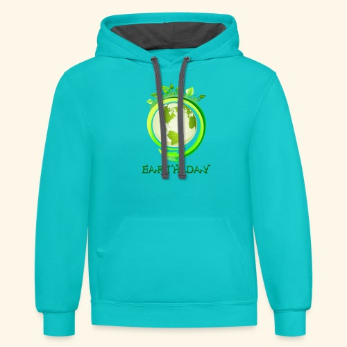 Happy Earth day - 2 - Contrast Hoodie