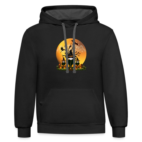 Happy Halloween with 3 masked cats - Unisex Contrast Hoodie
