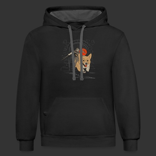A Corgi Knight charges into battle - Contrast Hoodie