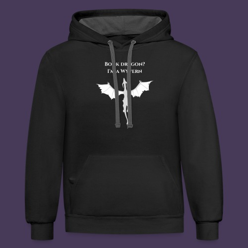 Book dragon? I'm a Wyvern (white) - Unisex Contrast Hoodie