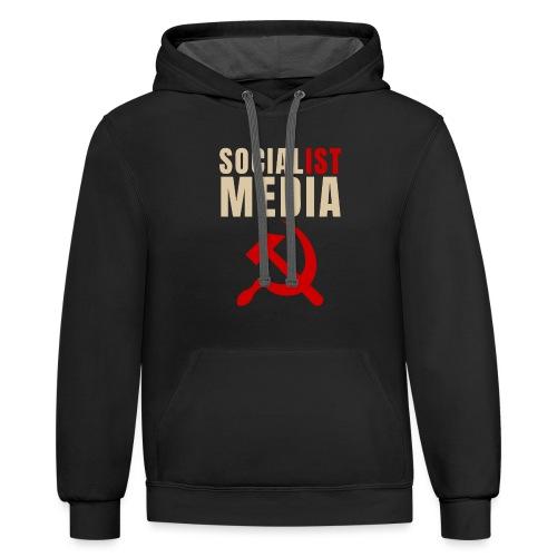 Socialist Media V1 - Unisex Contrast Hoodie