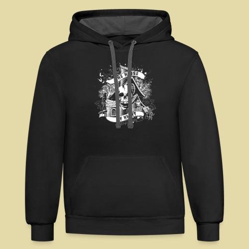 hoh_tshirt_skullhouse - Contrast Hoodie