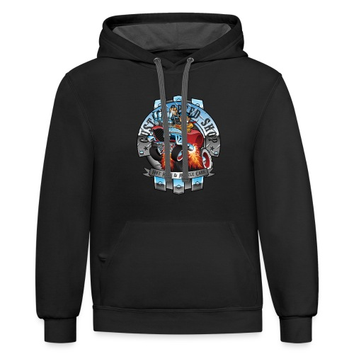Custom Speed Shop Hot Rods and Muscle Cars Illustr - Contrast Hoodie