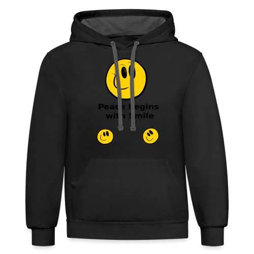 Peace begins with Smile - Contrast Hoodie
