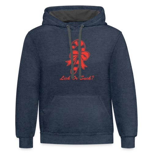 Lick Or Suck Candy Cane - Contrast Hoodie