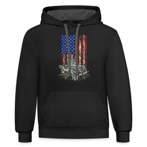 American Flag Wrangler - Contrast Hoodie