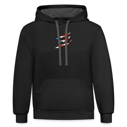 3D American Flag Claw Marks T-shirt for Men - Contrast Hoodie