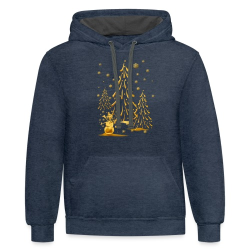 Gold Snowman and Christmas Tree - Contrast Hoodie