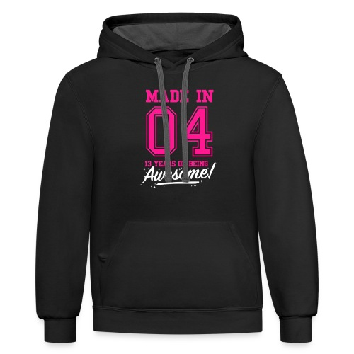 Made In 2004 Awesome 13th Birthday - Unisex Contrast Hoodie