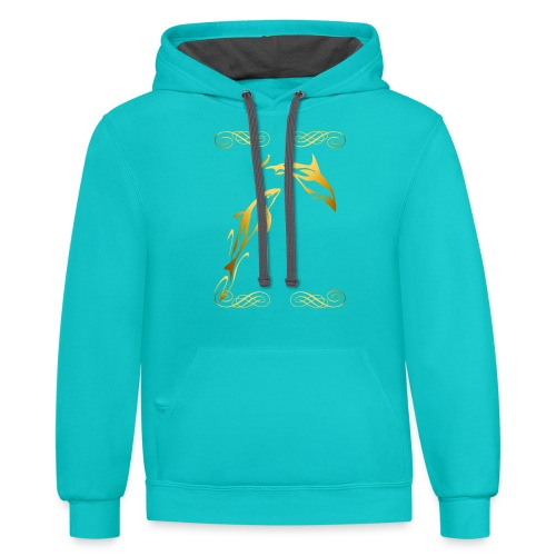 Two Gold Dolphins with frilly frames - Contrast Hoodie