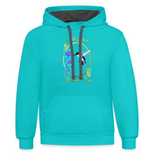 Mother's Day with humming birds - Contrast Hoodie