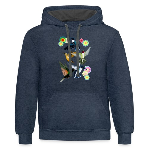 For The Love Of Hummingbirds - Contrast Hoodie