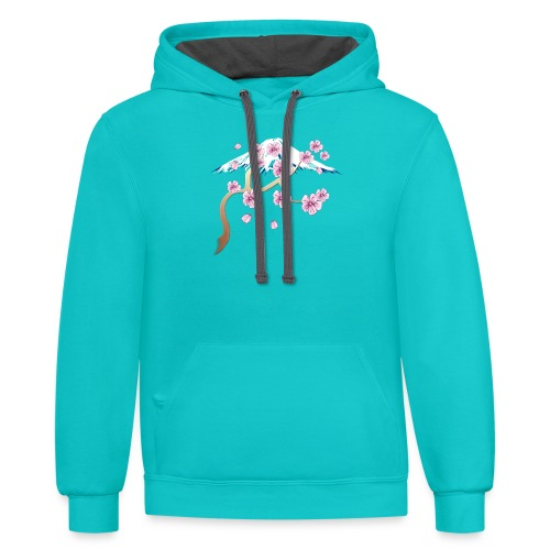 Cherry Blossoms and Mt. Fuji - Contrast Hoodie