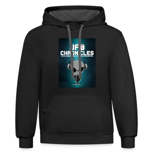 UFO Chronicles Logo with Grey Mike - Contrast Hoodie