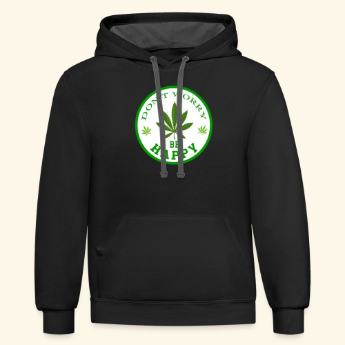 DON'T WORRY BE HAPPY - CANNABIS LEAF T-SHIRT - MEN - Contrast Hoodie