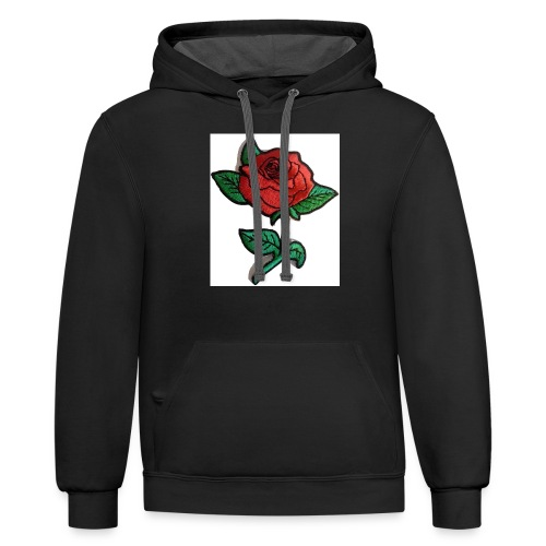 t-shirt roses clothing🌷 - Contrast Hoodie