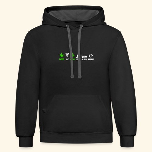 WEED - EAT - WEED - LOVE - SLEEP - REPEAT SHIRTS - Contrast Hoodie