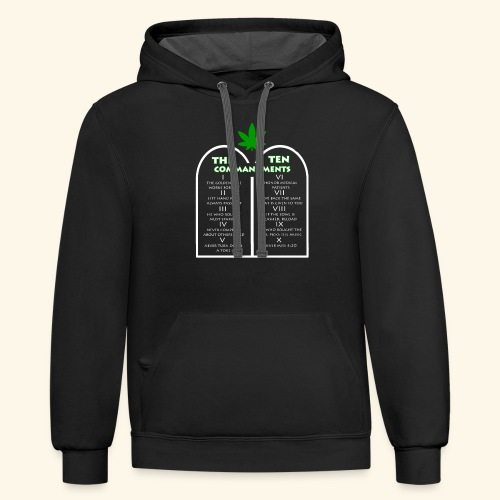 The Ten Commandments of cannabis - Contrast Hoodie