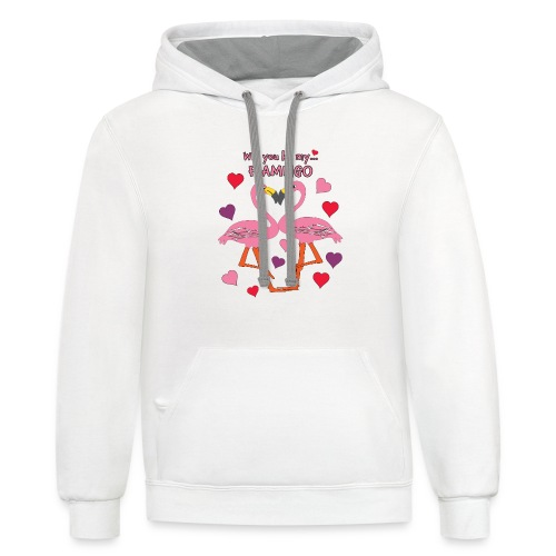 Will You be my Flamingo Valentine Kisses - Contrast Hoodie