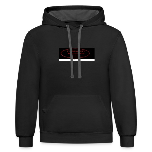 Damaged Records Black and Red Oval logo - Unisex Contrast Hoodie