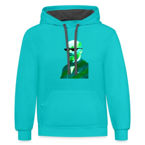 Green and Blue Zamenhof - Contrast Hoodie