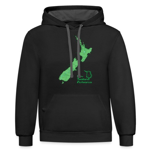 New Zealand's Map - Contrast Hoodie