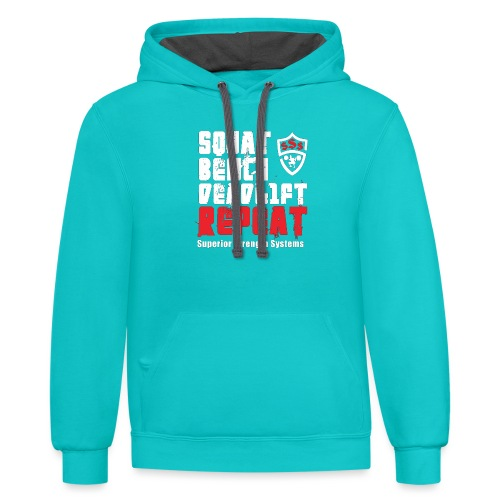 Squat Bench Deadlift Repeat with logo - Contrast Hoodie