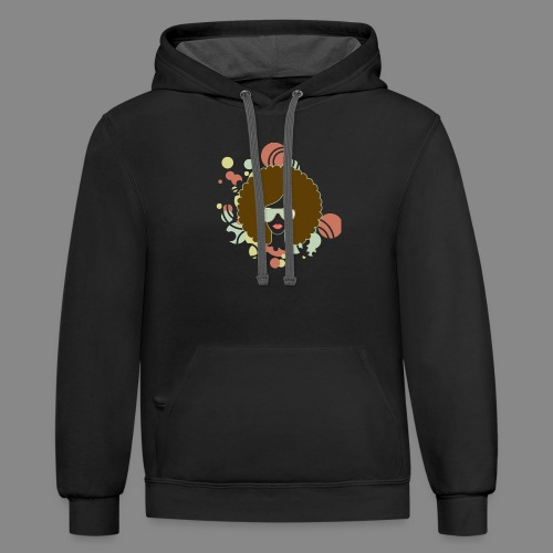 Brown Afro (Abstract) - Contrast Hoodie