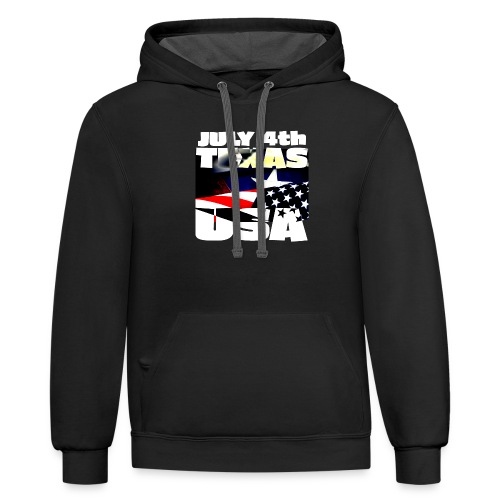 July 4th Texas USA - Unisex Contrast Hoodie