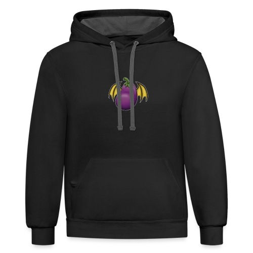 Eggplant Logo With White Outline - Unisex Contrast Hoodie