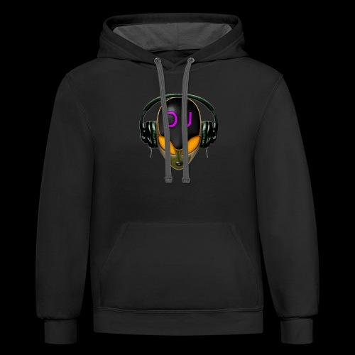 Alien DJ - Orange - Hard Shell Bug - Contrast Hoodie