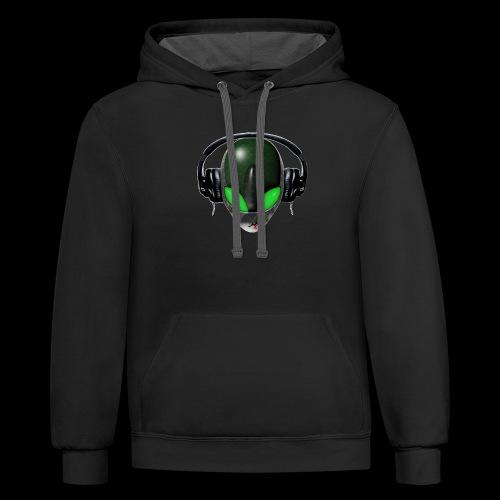 Reptoid Green Alien Face DJ Music Lover - Friendly - Contrast Hoodie