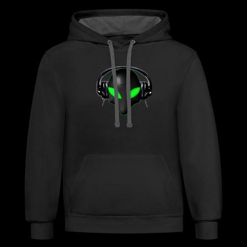 Alien Bug Face Green Eyes in DJ Headphones - Contrast Hoodie