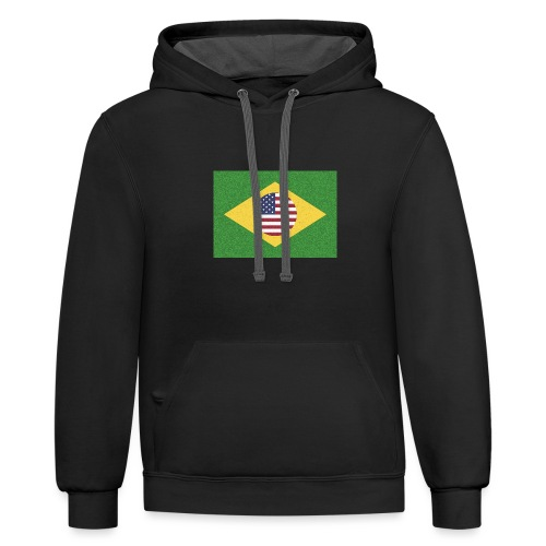 Brazil and USA Flag - Unisex Contrast Hoodie