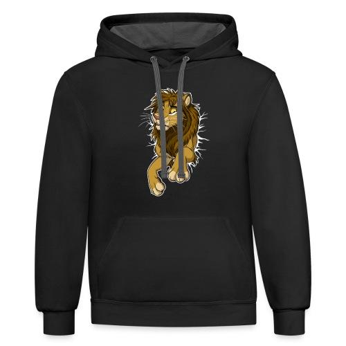STUCK Lion (white cracks) - Unisex Contrast Hoodie
