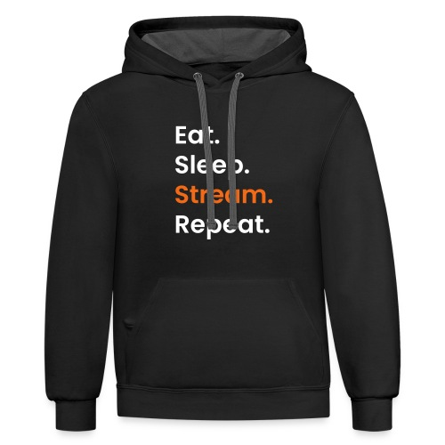 EatSleepStream - Unisex Contrast Hoodie