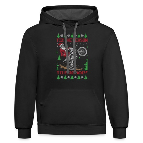 Dirt Bike Ugly Christmas - Contrast Hoodie
