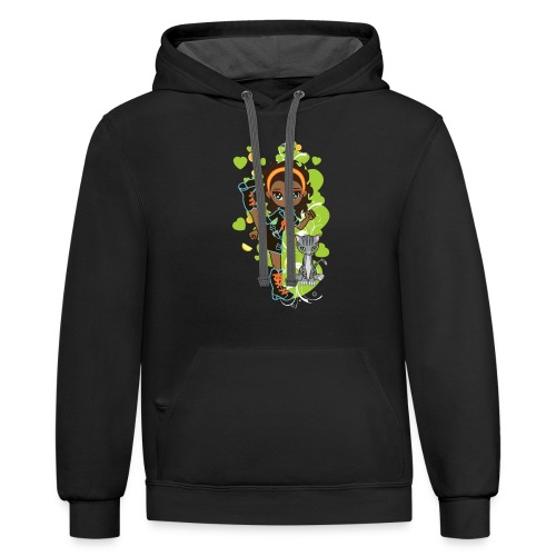 Aisha the African American Chibi Girl - Contrast Hoodie