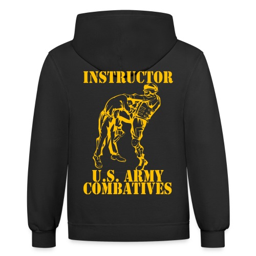 Army Combatives Knee Instructor Gold - Unisex Contrast Hoodie