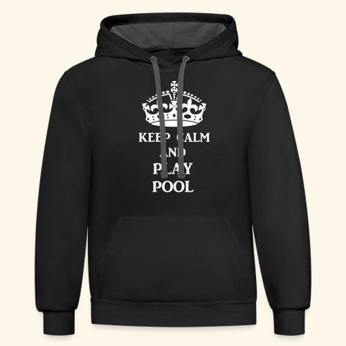 keep calm play pool wht - Unisex Contrast Hoodie